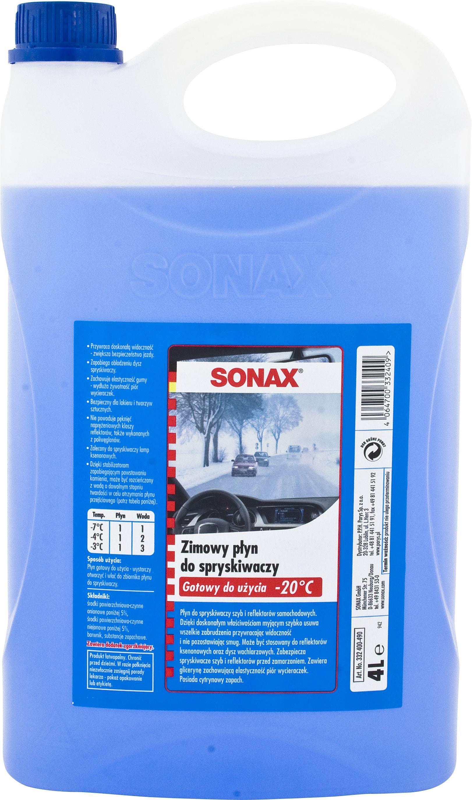 SONAX-PLYN DO SPRYSKIWACZY 4L -20 ZIMOWY