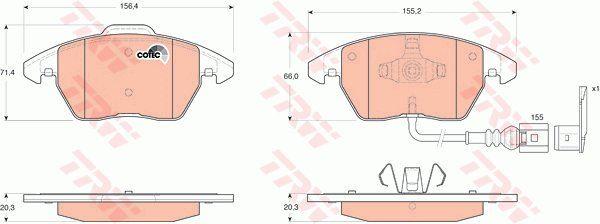 Zestaw klocków hamulcowych, hamulce tarczowe TRW GDB1550